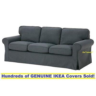 3 Ikea EKTORP Three Sealed! Seat Sofa Slipcover Cover NORDVALLA DARK GRAY New