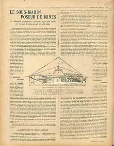 """ARTICLE de Georges-Gustave Toudouze Coupe Sous-Marins Poseur de Mines 1917 WWI - France - Commentaires du vendeur : """"OCCASION"""" - France"""
