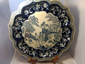 Bombay-Company-Asian-Oriental-Tray-Platter-Plate-Dish-Blue-White-Porcelain