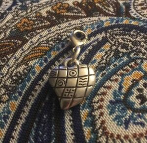 Brighton-Quilted-Puffed-Heart-Custom-Silver-Charm-Clip-On