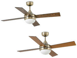 Ceiling Fan Light With Remote Control Mini Icaria Antique Brass 107 Cm 42 Ebay