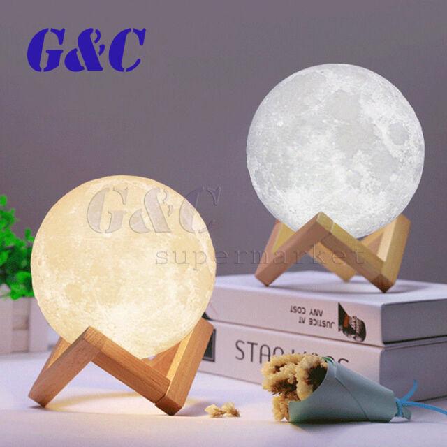LED Night Light 3D Print Moon Lamp Color Change 3D Touch Light Bedside Desk Gift