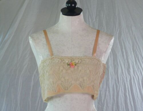 vintage 20s exquisite antique LACE BRALETTE or Cro
