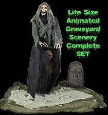 Halloween Animated Life Size GRAVEYARD REAPER Talking Haunted House LED PROP SET