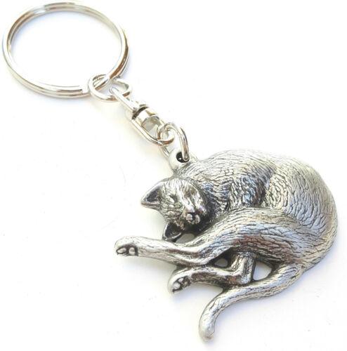 Katze Handgefertigt aus Englischen Zinn Schlüsselanhänger Geschenktüte
