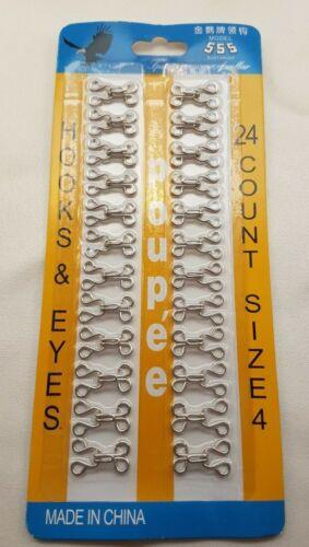 24 pares de sujetadores de gancho y ojo Plata Vestido haciendo Sujetador Reparación Coser Tamaños 1-4