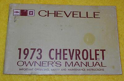 1973 Laguna Deluxe SS OWNER'S MANUAL Chevelle Chevrolet Malibu ORIGINAL Estate rwRrq