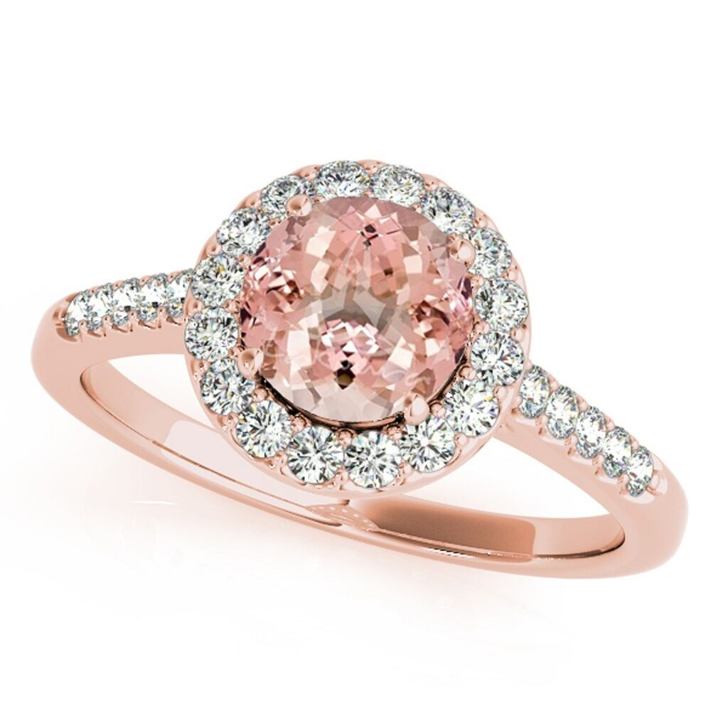 1.20 Ct. Halo Morganite And Diamond Engagement Wedding  Ring In 14k Solid gold