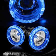 "3"" Blue Angel Eyes Glass Lens Bumper Fog Lights Lamps Complete Kit Universal 2"