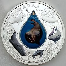 Canada 2017 $20 Canadian Underwater Life 1 oz Pure Silver Proof with Water Drop