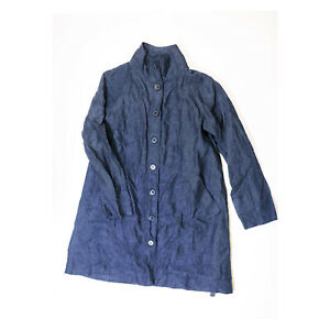 NEW-Garnet-Hill-Blue-Relaxed-Linen-Stand-Collar-Button-Front-Topcoat-Trench-Coat
