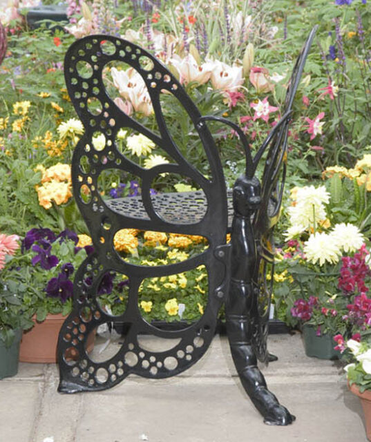 Outdoor Butterfly Chair Cast Aluminum Rust Free Metal Patio Black Garden  Sturdy