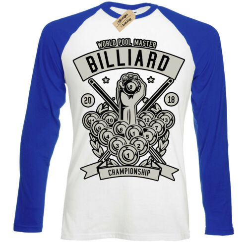 Billiard Championship T-Shirt pool master player Mens Baseball