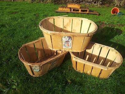 3 X Vintage French Genuine Fruit / Vegetable Mussy Basket Rustic Charming Retro