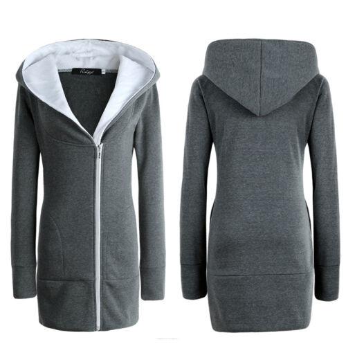 Womens Ladies Hoodie Jacket Zip Winter Parka Overcoat Warm Outwear Sweater Coats