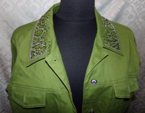 Green Sparkly Quacker Factory M verfraaid jasje sportjas Damesblazer Zq8YnOx