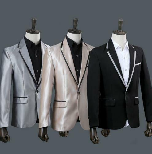 2pcs Mens Blazer One Button Slim Fit Suits Lapel Collar Coat Pants Dress 6 lc01