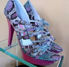 SEXY STRAPPY HEEL MULTI COLOR BLUE AND PINK PYTHON by CHINESE LAUNDRY ASHANI