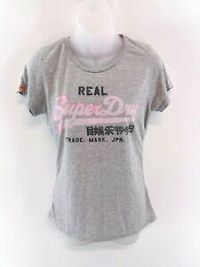 Haut-femme-SUPERDRY-T-Shirt-Top-M-gris-moyen-Polyester-amp-Coton