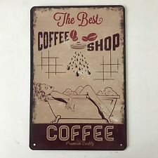 The Best Coffee Shop Vintage Tin Sign Bar pub home Wall Decor Metal Poster