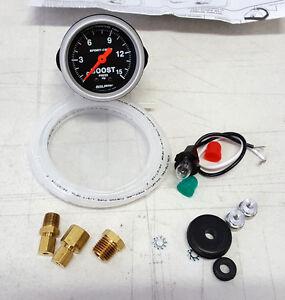 "Autometer Phantom 2-1//16/"" Boost 0-15 PSI Mechanical Gauge"
