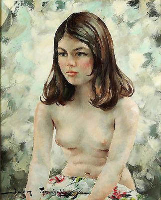 Igor TALWINSKI, Girl with shoulder length hair, ORIGINAL oil on canvas, POLISH