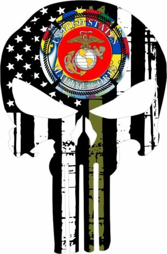Autism Awarenss Window Decal Var Sizes Punisher Decal Olive Drab Marine Corp