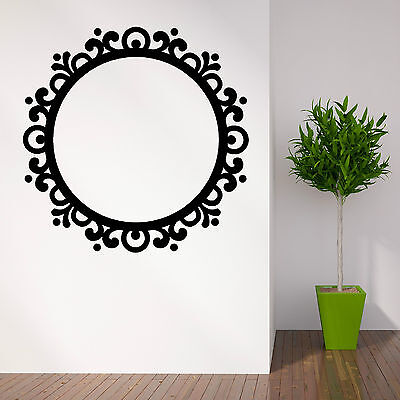 PICTURE FRAME  ROUND MIRROR contempory vintage Vinyl wall art sticker decal