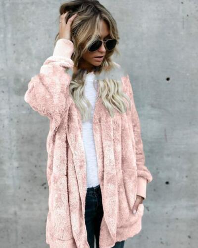 Fashion Women Fleece Fur Jacket Outerwear Tops Winter Warm Hooded Fluffy Coat CA