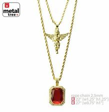 "Hip Hop Gold Plated Baby Angel & Red Ruby 22""&27"" Combo Pendant Chain MHC 213 G"