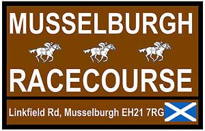 HORSE RACING TOURIST SIGNS (MUSSELBURGH) - FUN SOUVENIR NOVELTY FRIDGE MAGNET