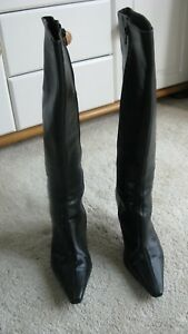 Next-ladies-black-leather-knee-high-boots-Size-6-39