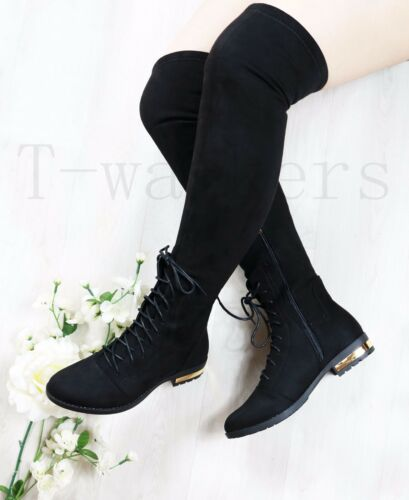 Womens Ladies Lace Up Over Knee Boots Low Block Heel Thigh Stretch Shoes Size