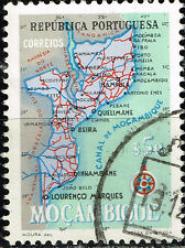 Mocambique Portuguese Colonial Empire detailed map old stamp 1954