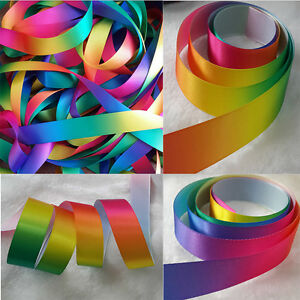 1m-10m-20-meters-Single-Double-Sided-Rainbow-Pastel-Satin-amp-Grosgrain-Ribbon