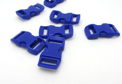 "12pcs 3//8/"" Curved Side Release Plastic Buckle  for Paracord Bracelet Navy Blue"