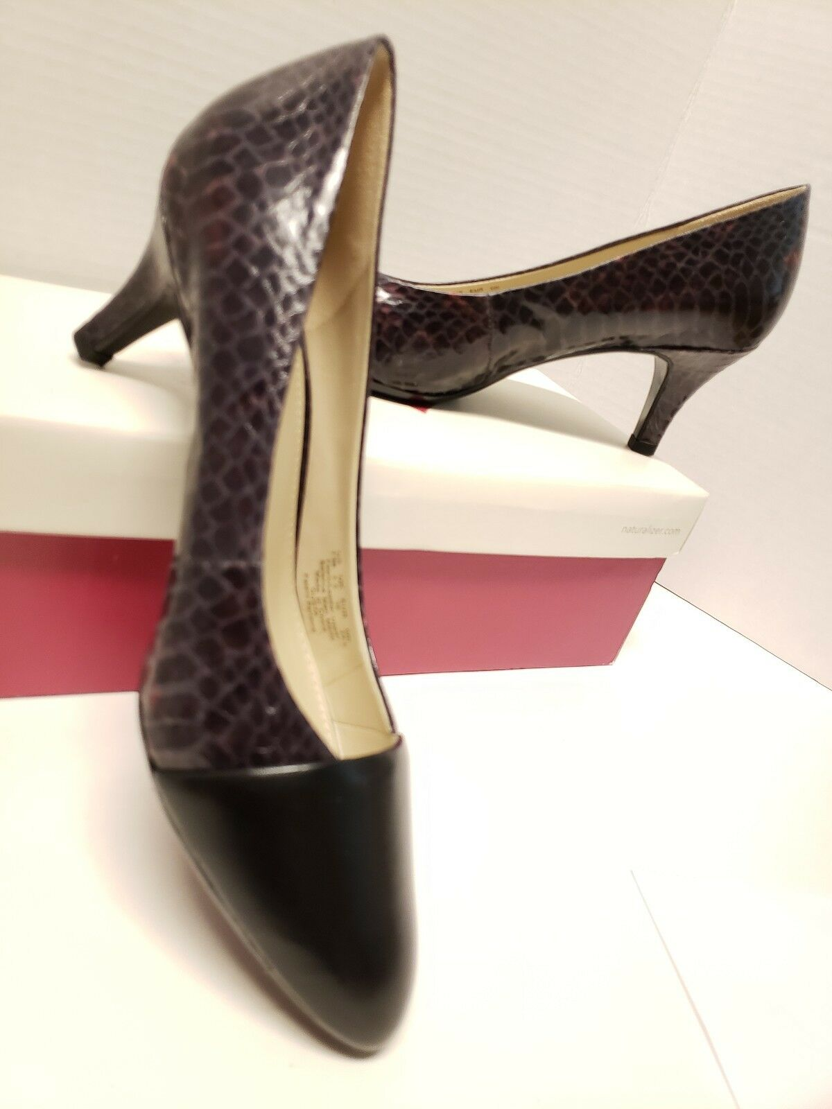 Naturalizer Gusta Snake Print Leather Leather Leather Heels Womens shoes 7.5 M Wine Black NEW 597261