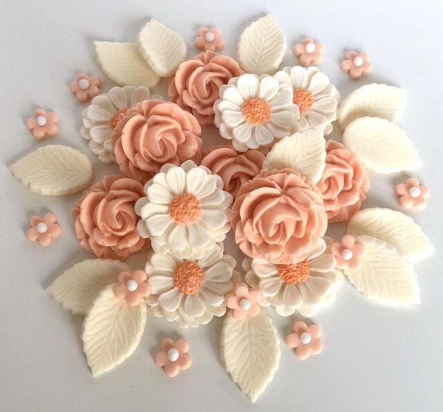Orange /& Ivory Roses Wedding Flowers Bouquet Cake Decorations Edible Cake Topper