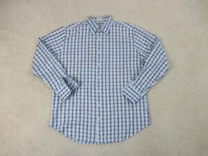 Peter-Millar-Button-Up-Shirt-Adult-Large-Blue-Brown-Cotton-Long-Sleeve-Mens-B98