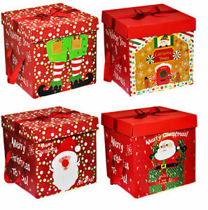 Christmas Boxes.Details About Quality Christmas Eve Gift Box Large Xmas Present Wrapping Boxes Red Ribbon Lids