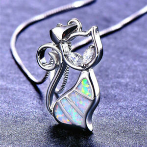 Fashion-925-Silver-Jewelry-White-Fire-Opal-Lovely-Cat-Pendant-Necklace-Chain-HOT