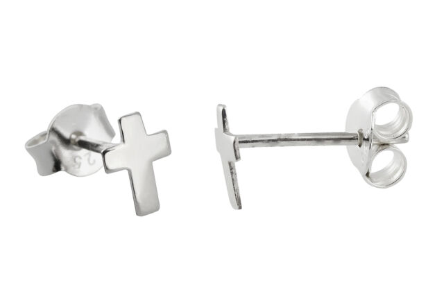 Tiny Cross Post Earrings - 925 Sterling Silver - Studs Faith Religious Cross NEW