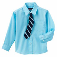 Chaps Boys' Aqua Blue Long Sleeve Dress Shirt & Tie Set - Size 4 - With Tags