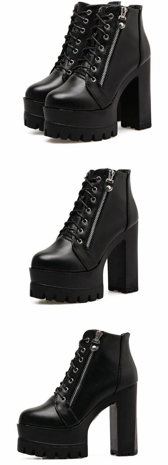 botas 13 stivaletti lacci bassi  platform tacco  alto 13 botas cm negro simil pelle 8986 6ea27e
