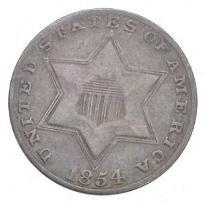 1854-Silver-Three-Cent-Piece-Trime-Jacobs-Coin-Collection-704