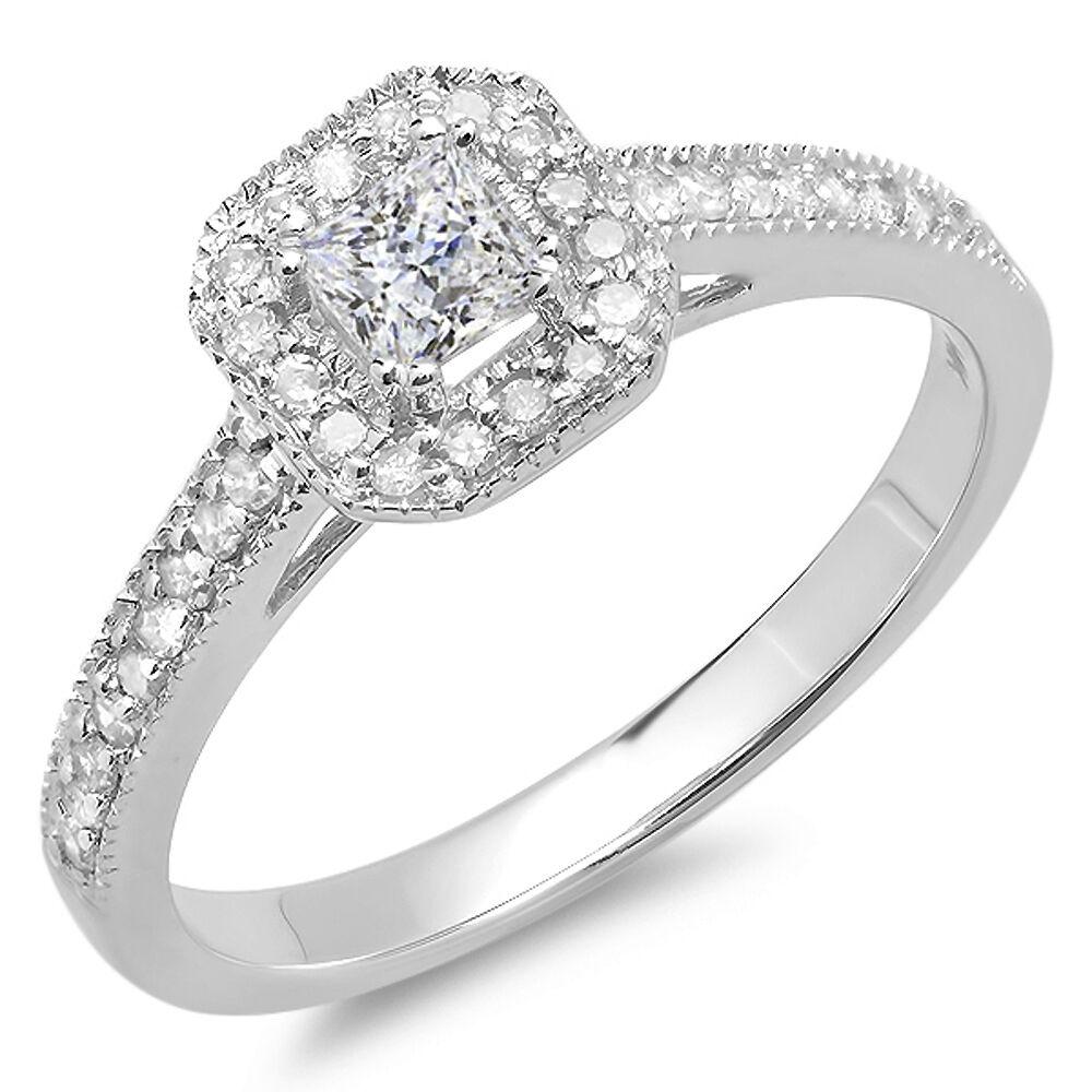 14K White gold Princess & Round Diamond Ladies Engagement Ring 1 2 CT (Size 7.5)