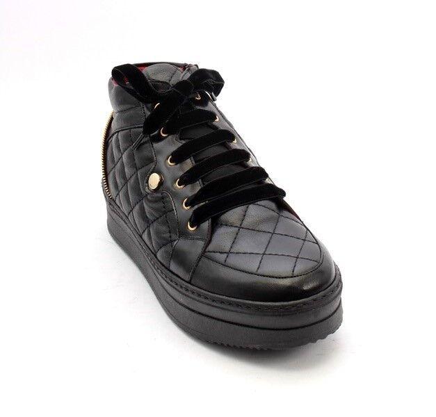 Lucrezia B. 200r Black Leather     Sheepskin Lace-Up Ankle Boots 35   US 5 ca7eae