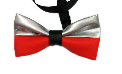 Men PVC Faux Leather Red Gold Stitching Shining Bow Tie Bowtie Wedding Party