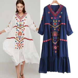 Women-Vintage-Ethnic-Mexican-Embroidered-Cotton-Linen-Long-Boho-Loose-Dress-Chic