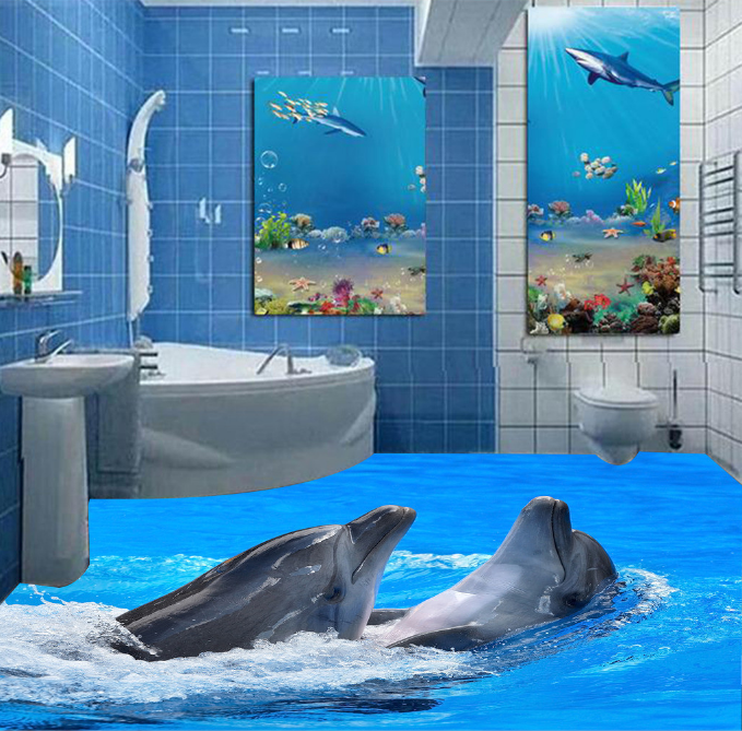 3D Two Cute Dolphins 13 Floor Wall Paper Wall Print Decal Wall Deco AJ WALLPAPER